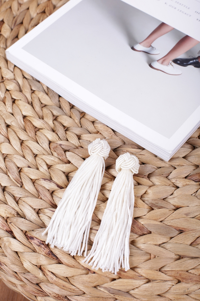 Brea Tassel Earrings (White)
