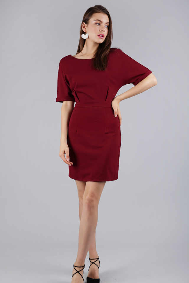 Cornelia Cuff Sleeve Dress (Maroon)