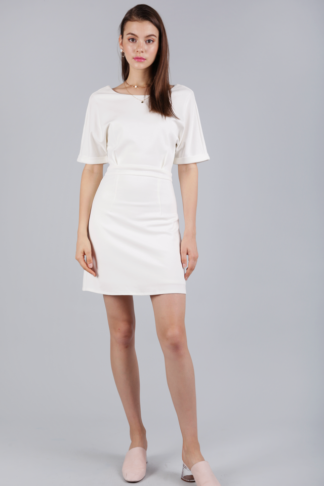 Cornelia Cuff Sleeve Dress (Off White)
