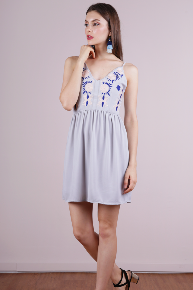 Aubrey Embroidery Dress (Grey)