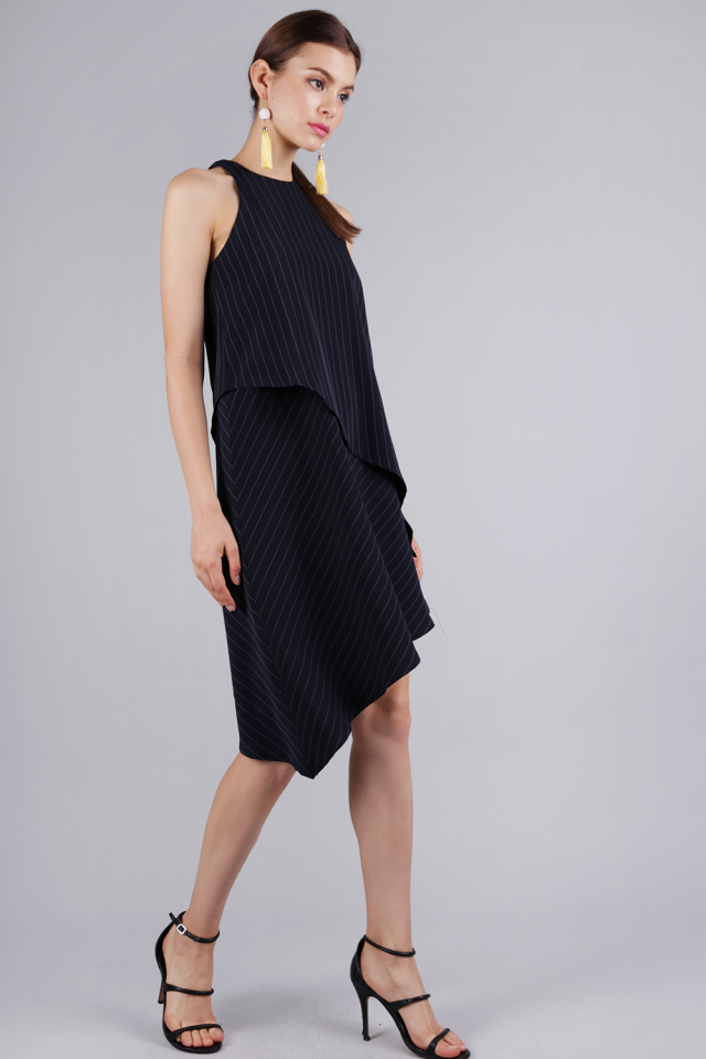 Henrietta Asymmetrical Dress (Navy Pinstripes)