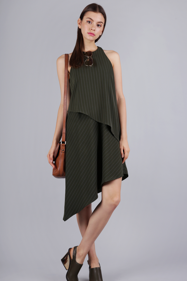 Henrietta Asymmetrical Dress (Olive Pinstripes)