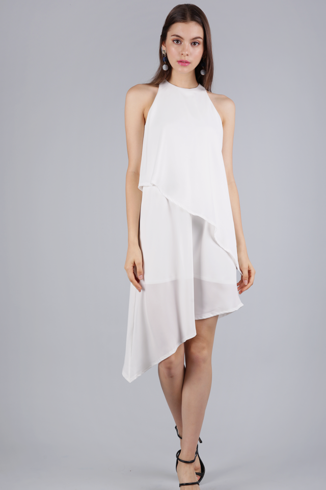 Henrietta Asymmetrical Dress (White)