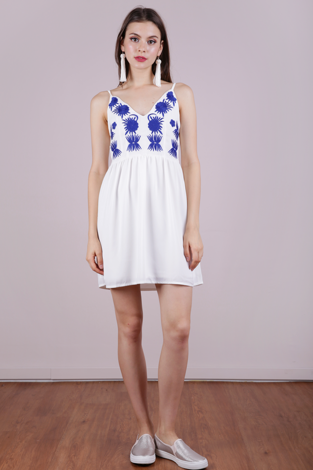Aubrey Embroidery Dress (White)