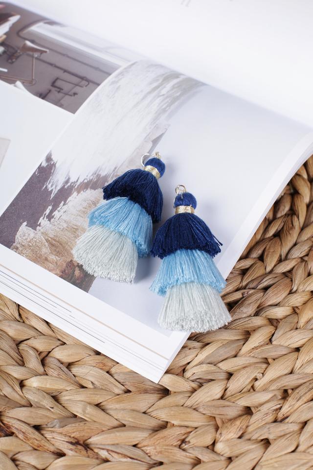 Cloir Layered Tasseled Earrings (Pastel Blue)