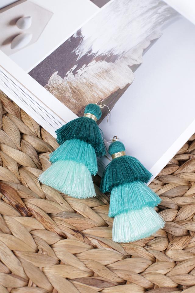 Cloir Layered Tasseled Earrings (Pastel Green)