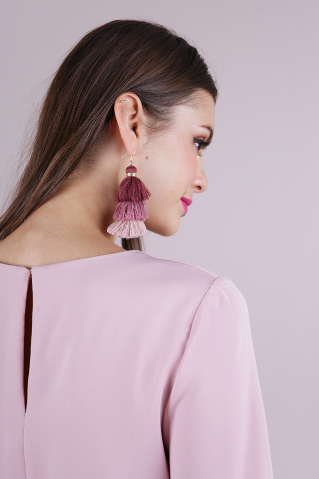 Cloir Layered Tasseled Earrings (Mauve)