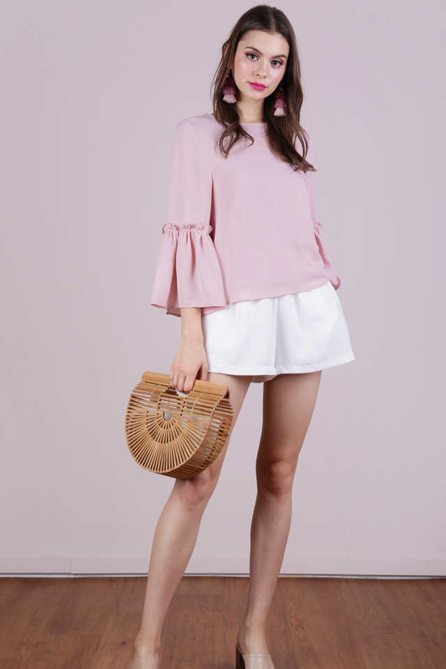 Amelia Frilly Blouse (Pale Pink)