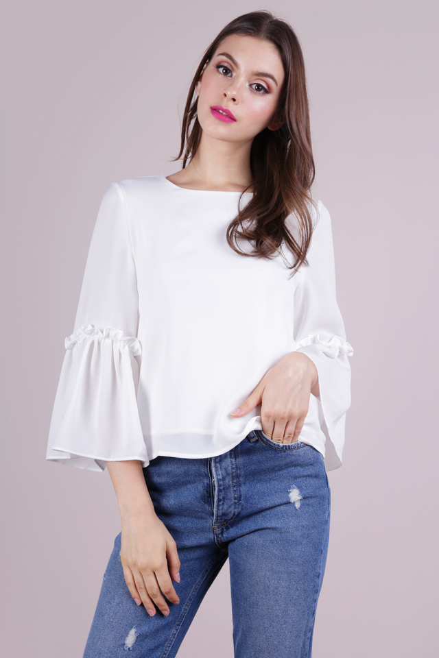 Amelia Frilly Blouse (White)