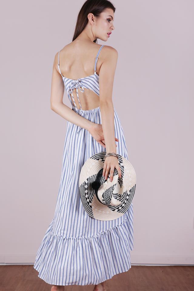 Hampton Tie Back Dress (White Stripes)
