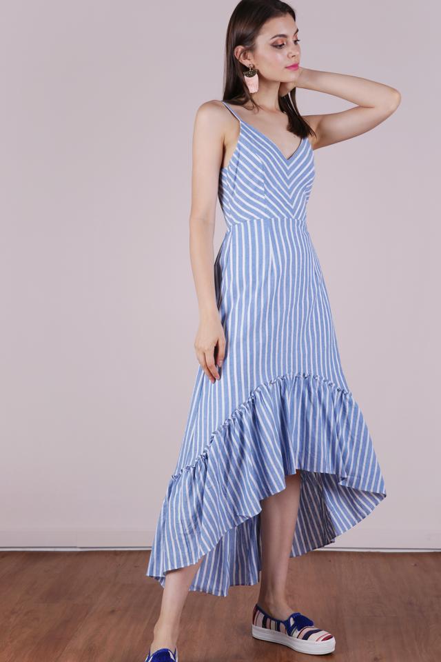 Hampton Tie Back Dress (Blue Stripes)