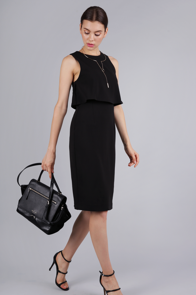 Madelyn Midi Dress (Black)