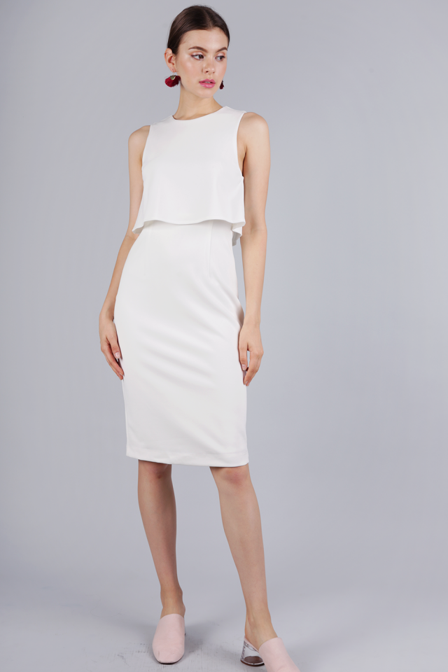 Madelyn Midi Dress (White)