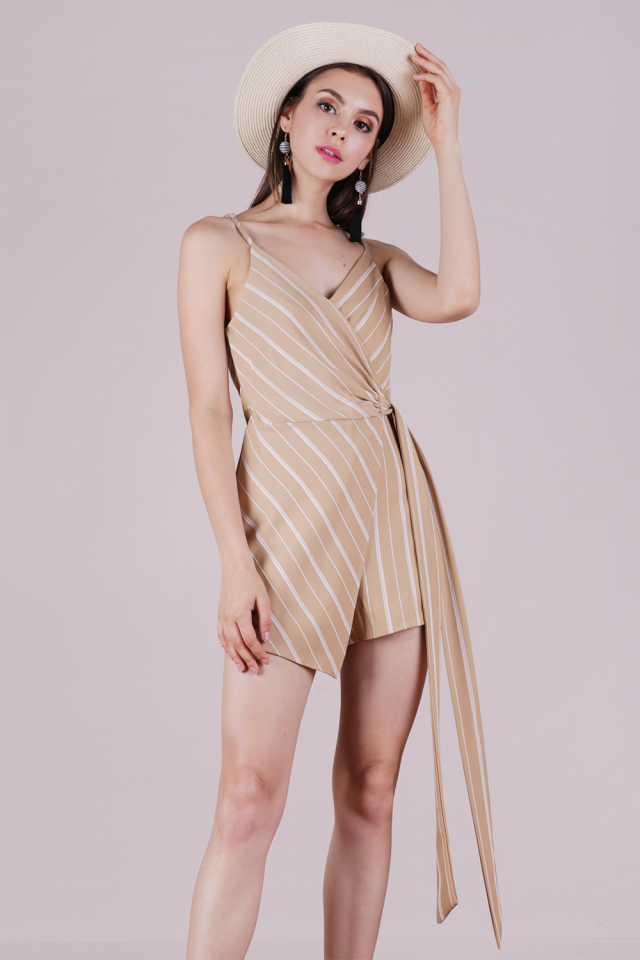 Nelly Wrap Romper (Nude Stripes)