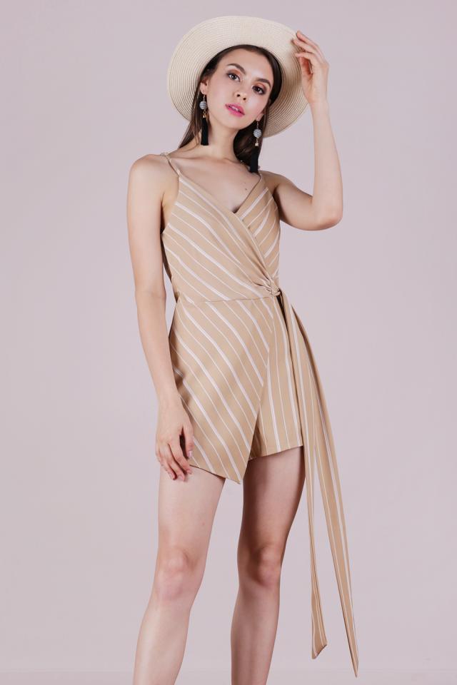 Nelly Wrap Romper (Nude Stripes)