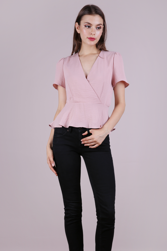 Kayla Peplum Top (Light Pink)