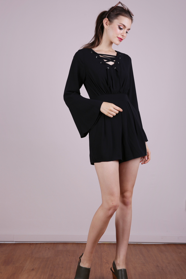 Syd Lace Up Romper (Black)