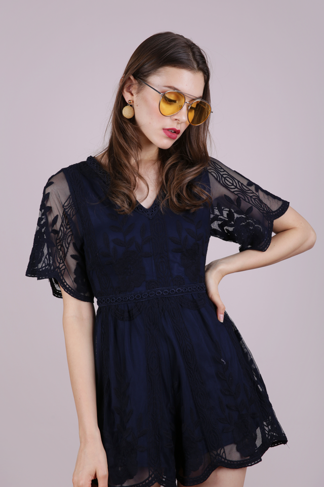 Miki Mesh Embroidery Romper (Navy)