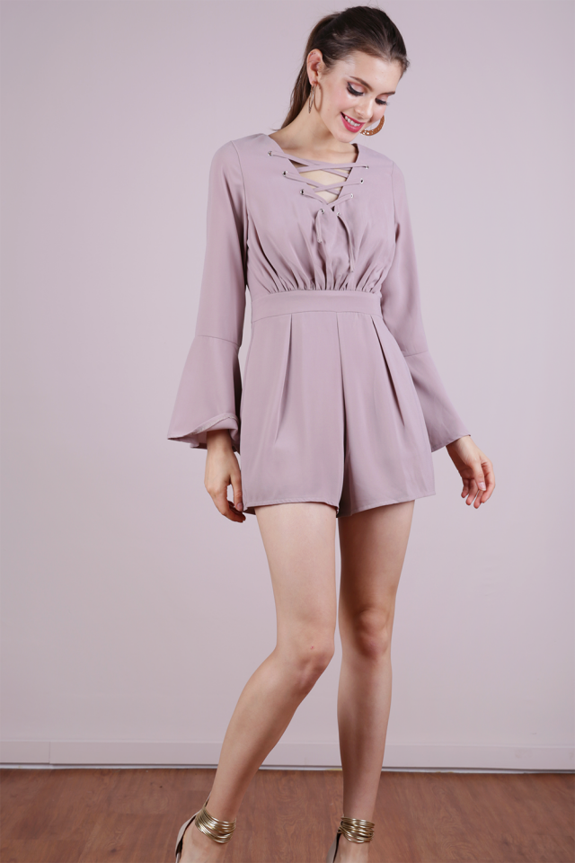 Syd Lace Up Romper (Taupe)