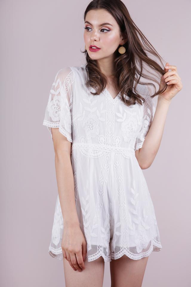 Miki Mesh Embroidery Romper (White)