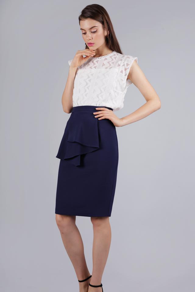 Tessie Ruffles Front Skirt (Navy)