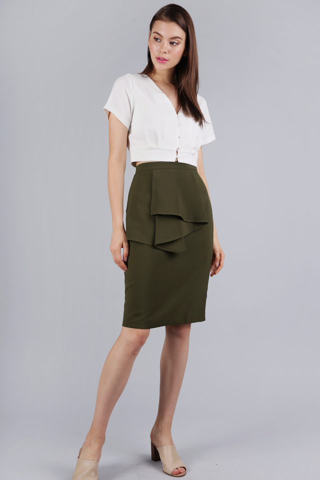 Tessie Ruffles Front Skirt (Olive)