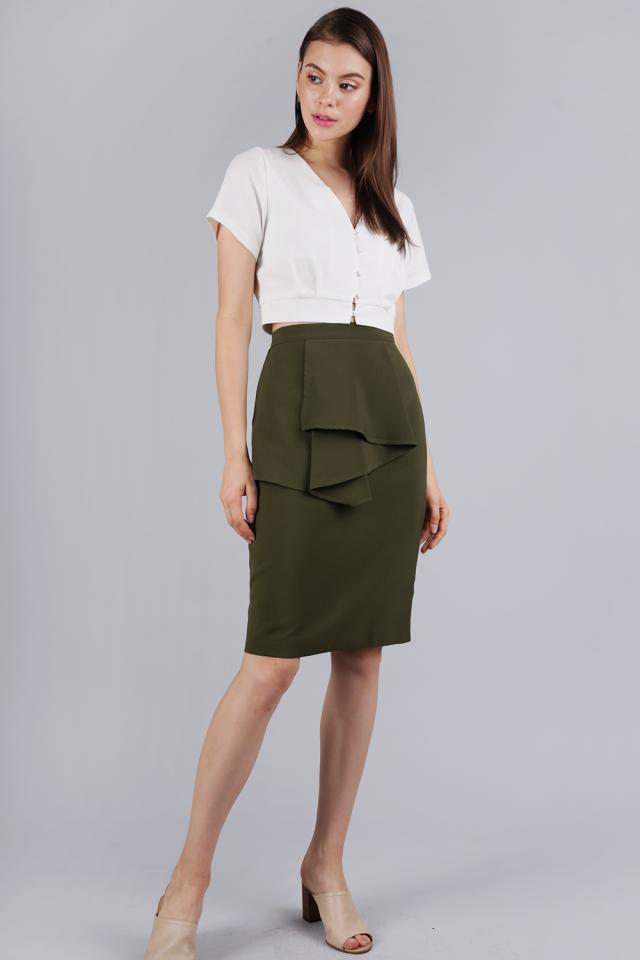 Tessie Ruffles Front Skirt (Olive)