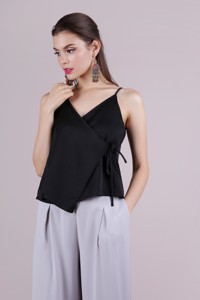 Palmer Wrap Spag Top (Black)
