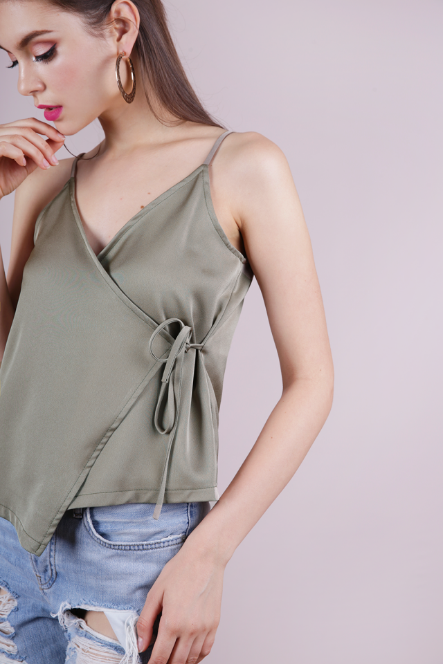 Palmer Wrap Spag Top (Muted Olive)
