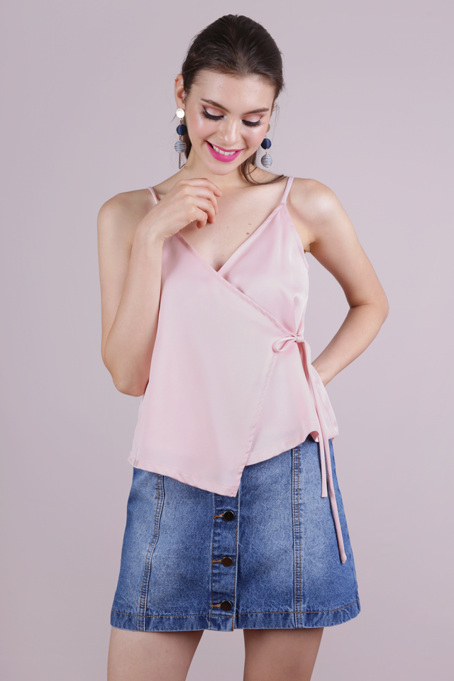 Palmer Wrap Spag Top (Light Pink)