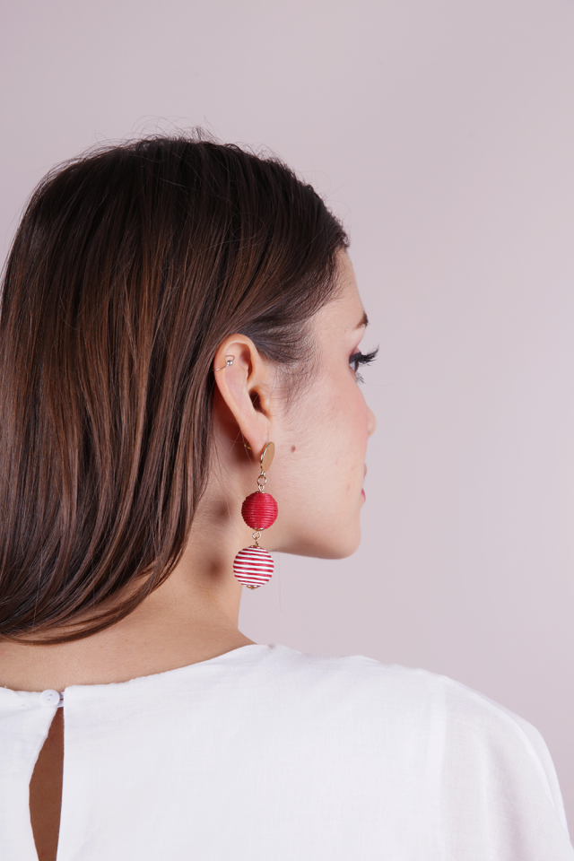 Strio Ball Earrings (Red and White Stripes)