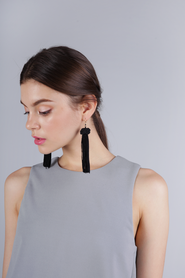 Brea Tassel Earrings (Black)