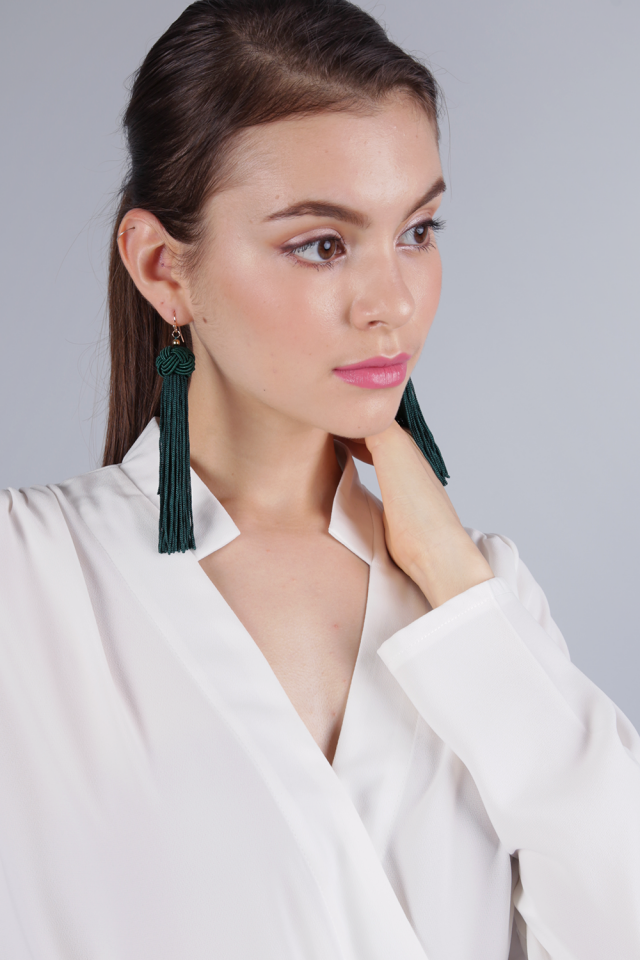 Brea Tassel Earrings (Green)