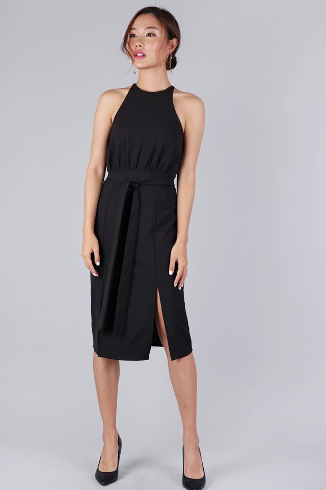 Genesis Halter Slit Dress (Black)