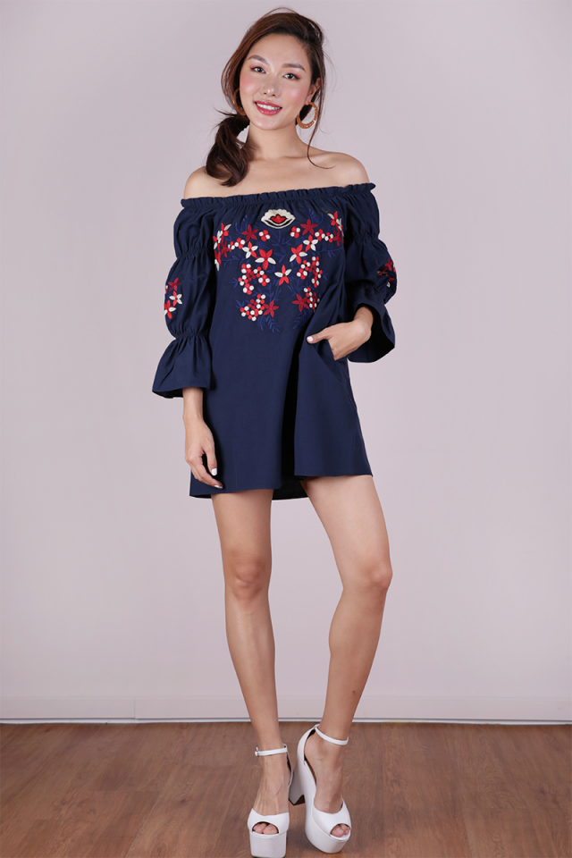 Emmie Embroidery Dress (Navy)