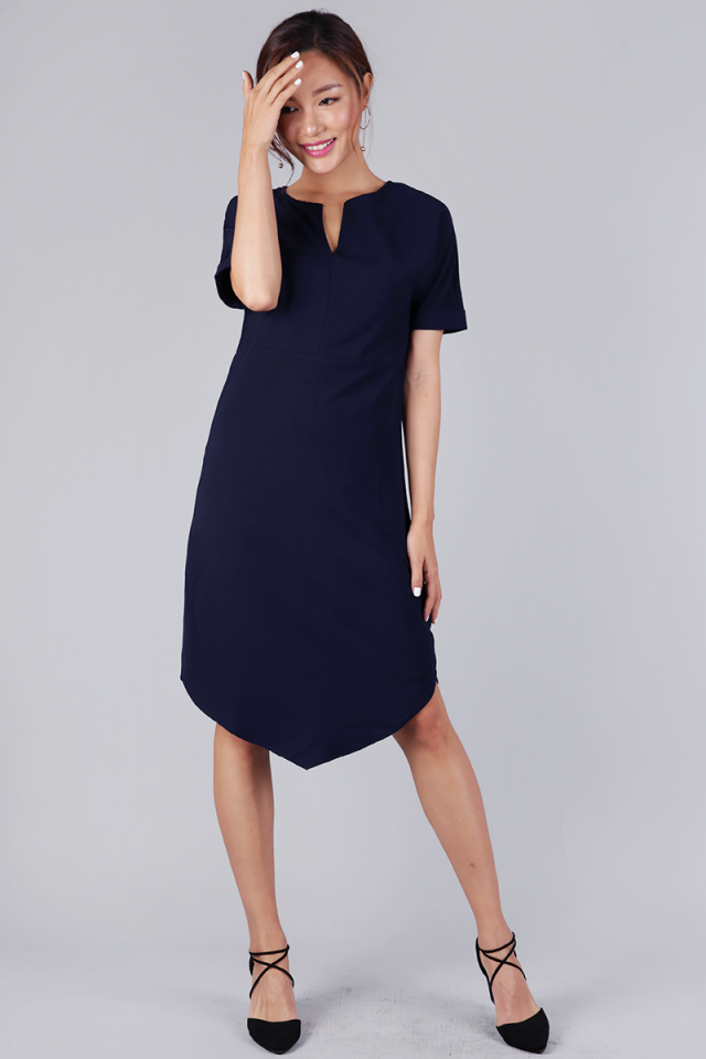 Avril Sleeved Dress (Navy)