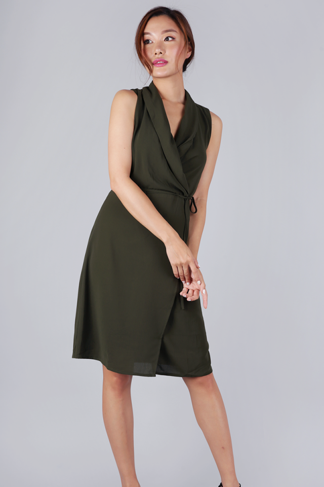 Tilly Drape Front Dress (Olive)
