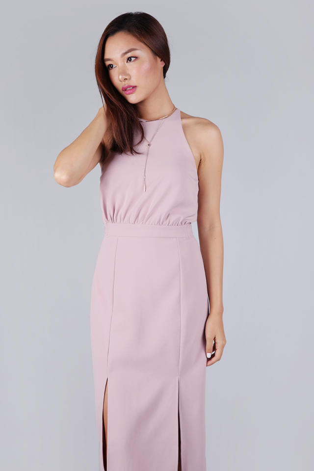 Genesis Halter Slit Dress (Petal Pink)