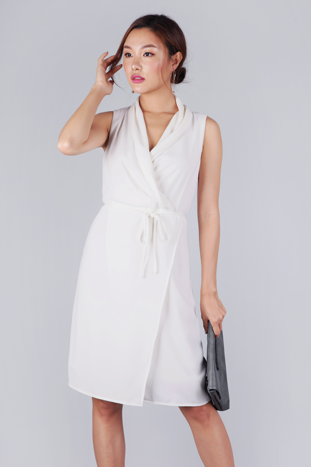 Tilly Drape Front Dress (White)