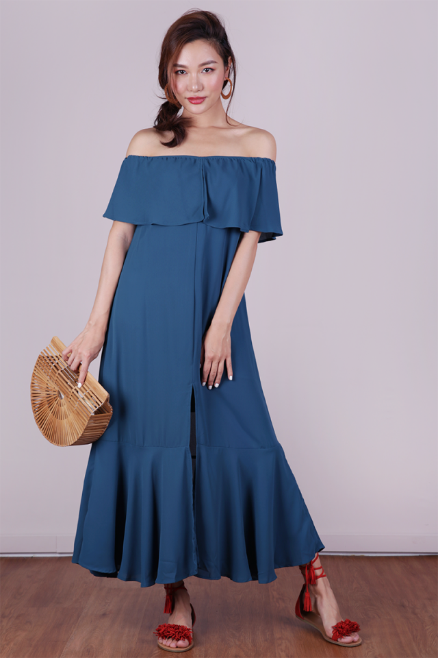 Mila Off Shoulder Dress (Teal)