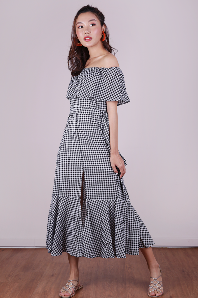 Mila Off Shoulder Dress (Gingham)