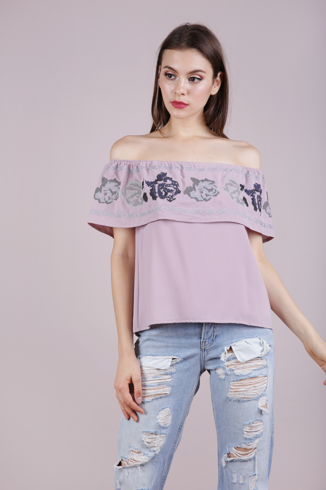 Clare Embroidery Off Shoulder Top (Mauve)