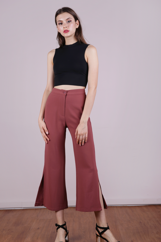 Aly Side Split Pants (Redwood)