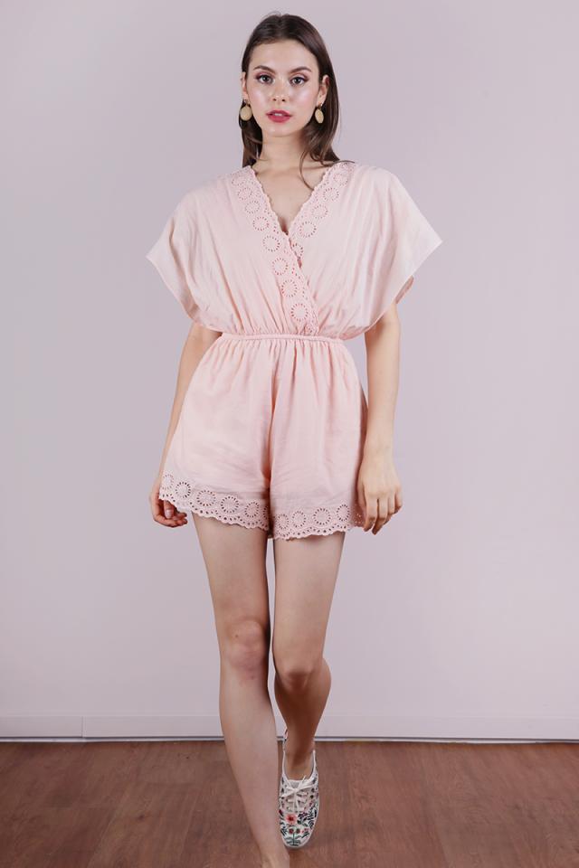 Hallie Eyelet Romper (Peach Pink)