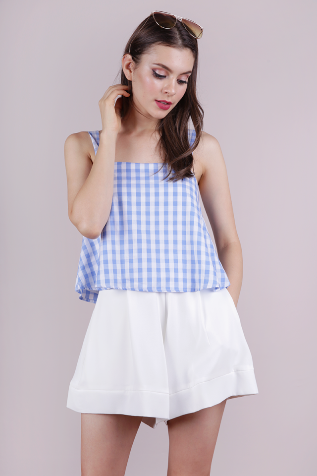 Nixon Flare Top (Blue Gingham)
