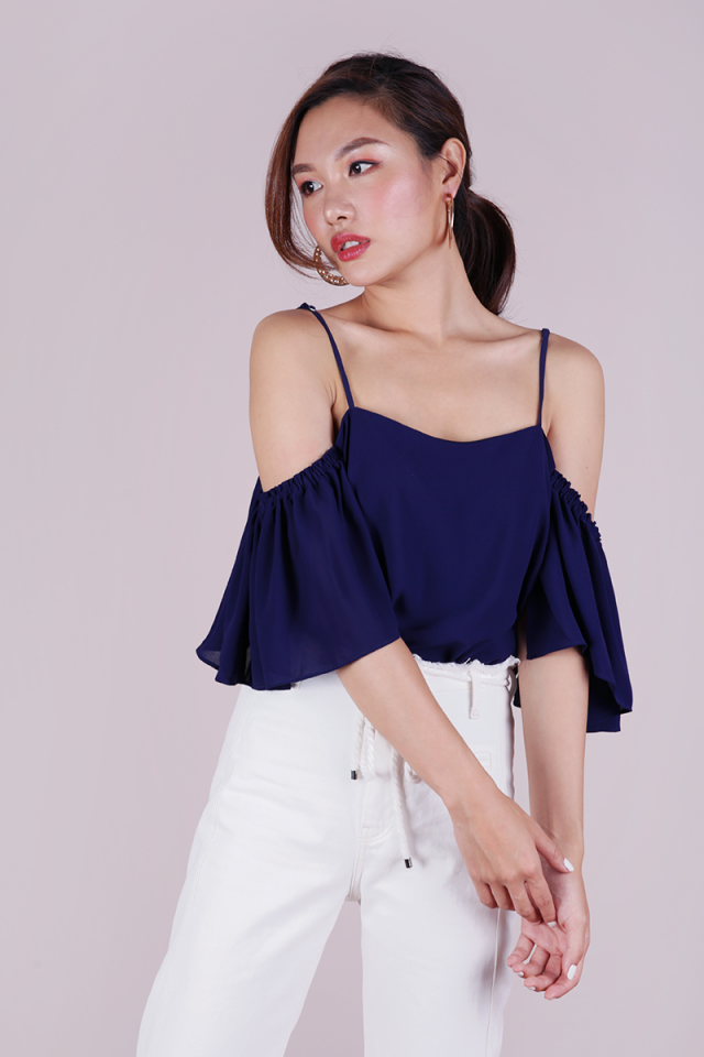 Annie Cold Shoulder Top (Navy)