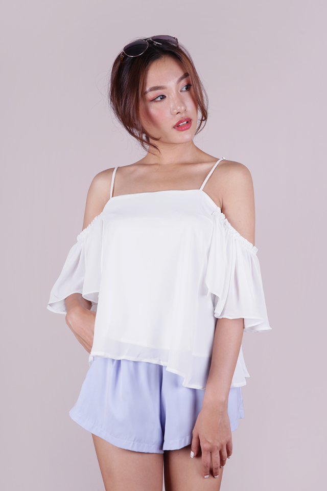 Annie Cold Shoulder Top (White)