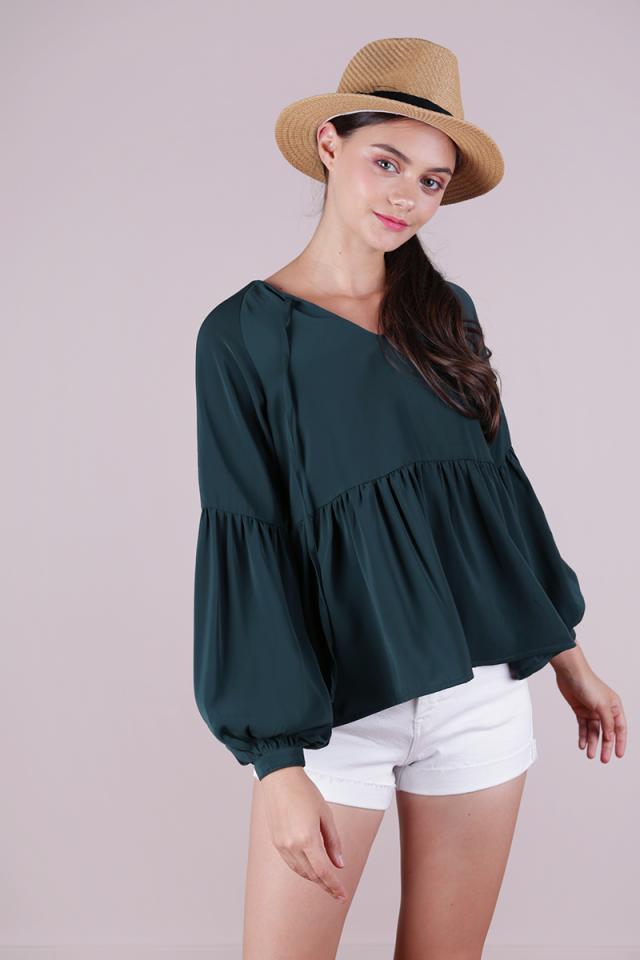 Zelda Sleeved Blouse (Forest Green)
