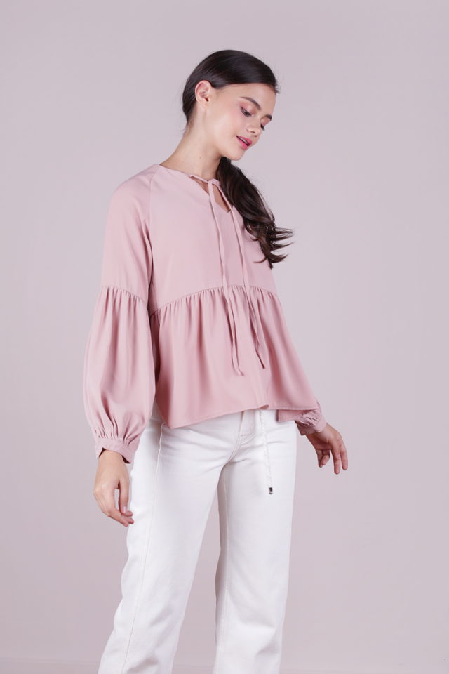 Zelda Sleeved Blouse (Blush Pink)