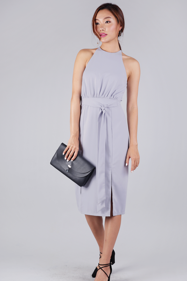 Genesis Halter Slit Dress (Grey)